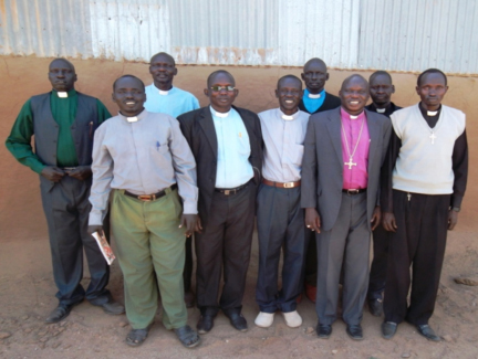 Bishop Abraham with local pastors in Kakuma